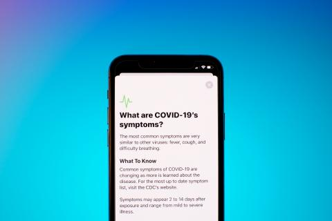 A phone screen displaying COVID-19 Information
